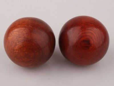 2 Chinese Red Wood Unique Handmade Massage Ball Health Decoration Collection