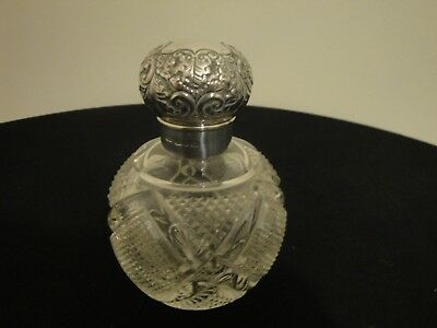 antique glass scent bottle  hallmarked silver top and cuff
