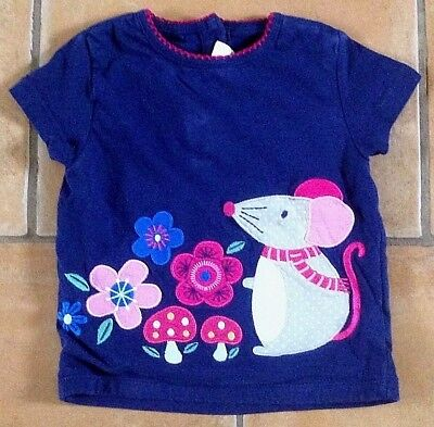 Jojo Maman Bebe ! Age 6 - 12 Ms ! Very Sweet Mouse & Flower Top / T - Shirt