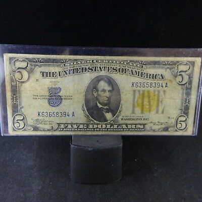 1934 A $5 North Africa Yellow Seal Silver Certificate - Fine