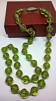 Vintage Jewellery Art Deco Sommerso Green Glitter Glass Bead Knotted Necklace