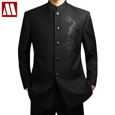 Black Chinese Tunic Suit Men's Traditional Stand Collar Suits Apec Leader Costum