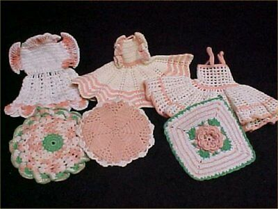 6 Vintage Antique Hand Crocheted Potholder Shabby 1940s Chic Peachy Pink LOT