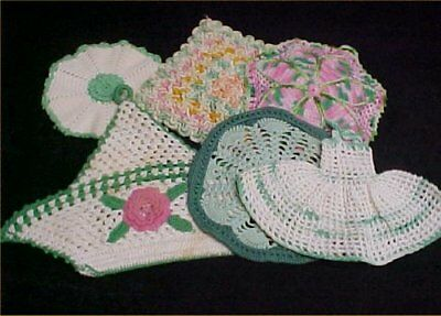 6 Vintage Antique Hand Crocheted Potholder Shabby 1940s Chic Green LOT