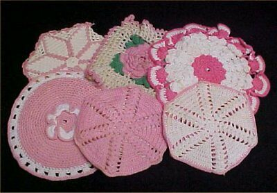 6 Vintage Antique Hand Crocheted Potholder Shabby 1940s Chic Bubblegum PINK LOT