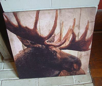 Moose Lodge Sign Rustic Wood Plank Canvas Framed Log Cabin Wall Home Decor NEW