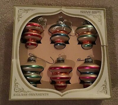 Vintage Christmas Ornaments Boxed Set of 6 Shiny Brite Tornado Lantern Style