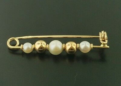 14K Yellow Gold Pin With Pearls And Gold Beads.