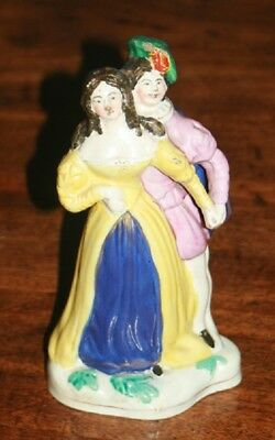 Antique early 19th C English staffordshire figure of actors RARE