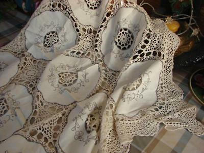 Pretty Vintage Tablecloth~Pale Beige Cotton~Embroidery~Hand Crochet~34in Sq~
