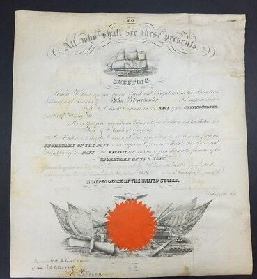 United States Navy 1860 Document. Signed By Secretary Of The Navy