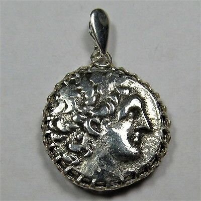 Authentic Ancient Greek Silver Coin Tetradrachm Sterling Silver Pendant #245