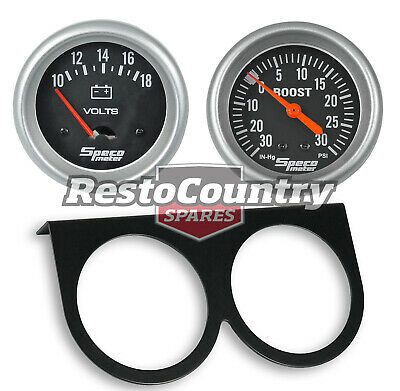 Speco 2 5/8 Gauge Kit Volts Meter + Boost 30psi + Holder Panel Black Performance