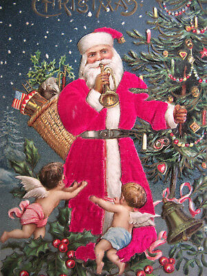 SANTA CLAUS FEATHER TREE ANGEL CHERUB HORN TOY Embossed MERRY CHRISTMAS POSTCARD