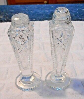 Brilliant Cut Crystal Tall Salt and Pepper Shakers - One flat lid