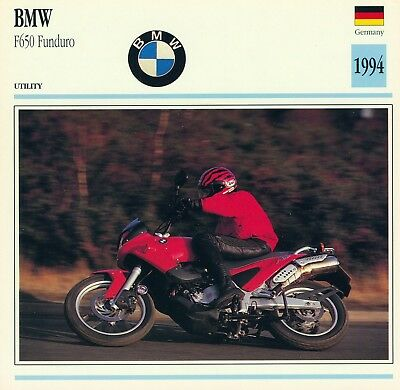 1994 BMW F650 FUNDURO motorcycle collector card.