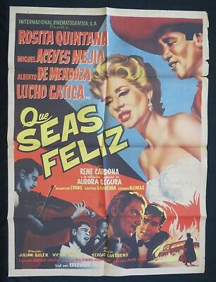 QUE SEA FELIZ Rosita Quintana Miguel Aceves Mejia MEXICAN MOVIE POSTER 1956