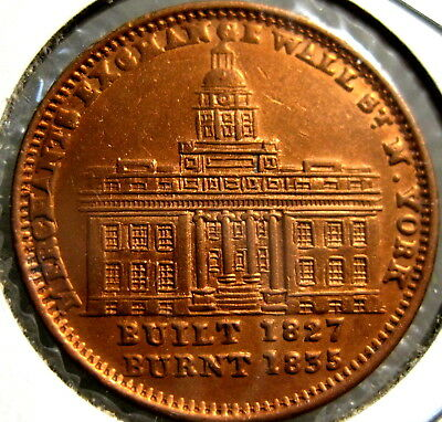 Hard Times Token Built 1827 Burnt 1835 High Grade Uncirculated Cleaned