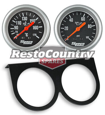 Speco 2 5/8 Gauge Kit Oil Pressure + Temperature + Holder Panel Black Mechanical