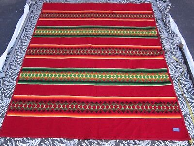 VTG Pendleton Beaver State Southwestern Aztec Striped Wool Blanket Red 62 x 74