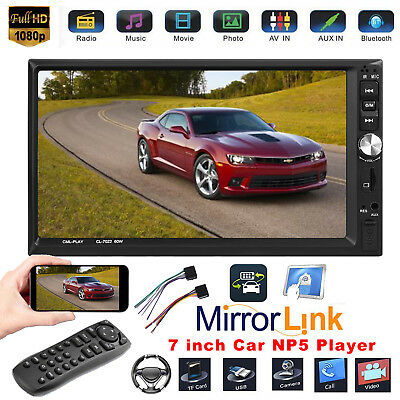 "Double 2Din 7"" Screen Car Stereo MP5 Player Bluetooth FM Radio RC Mirror Link"