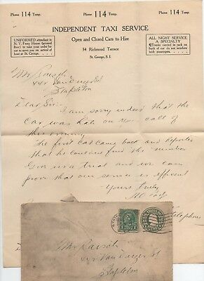 1927 Independent Taxi Service  Letterhead Envelope Paper St.george S.i  Ny