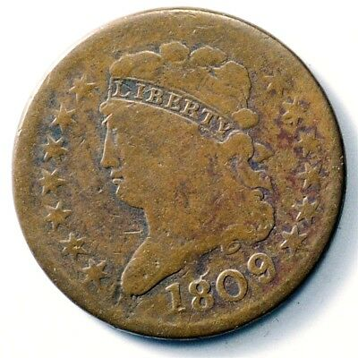 1809 Classic Head Half Cent - ½ Cent Copper - First Year