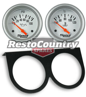 Speco 2 5/8 Gauge Kit Oil Pressure + Water Temp + Holder Panel Silver Electrical