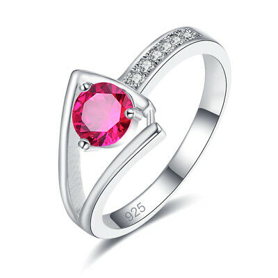 Hollow Classic Gift Round Cut Rainbow Topaz Ruby Spinel Gems Silver Ring Sz 6-12