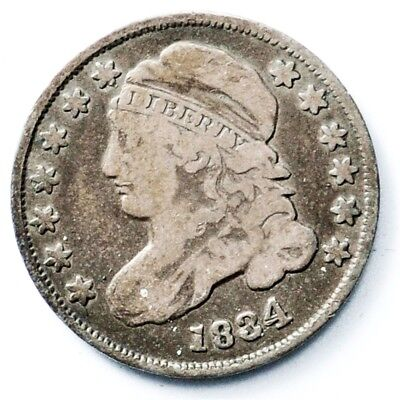 1834 Capped Bust Dime - Fine - 10c Silver - Toned