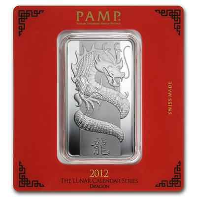 100~GRAMS ~.9999 SILVER ~ YEAR of the DRAGON ~ PAMP SUISSE ~ SEALED BAR ~$108.88