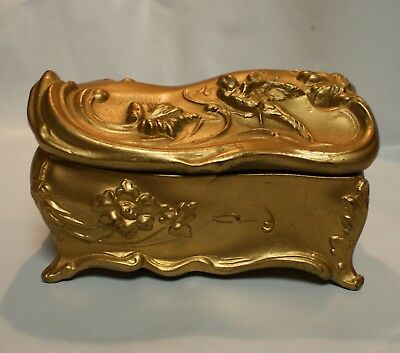 Antique/vintage Victorian Era Gold Painted Jewelry Casket With Bird And Leaves