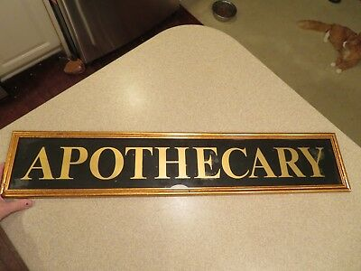 Antique 1920 APOTHECARY Pharmacist REVERSE PAINTED SIGN Advertisement Store Sign