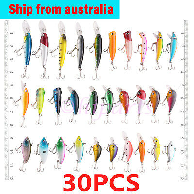 30pcs Fishing Lures Bulk with #6 Hook Murray Cod  Bream Minnow Freshwater