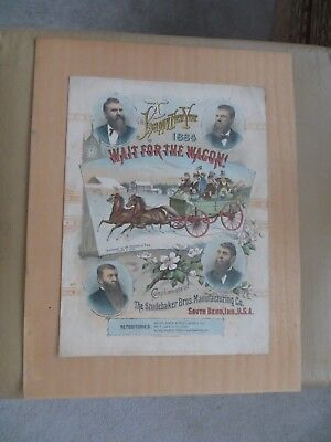 """1884 SHEET MUSIC STUDEBAKER BROS SOUTH BEND """" WAIT FOR THE WAGON """" Indiana IN"""