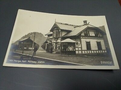 1922 Norway Real Photo Postcard Norge Hell Railway Station
