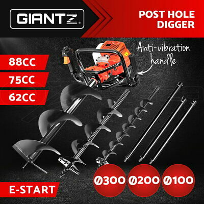 Giantz Petrol Post Hole Digger Drill Borer Fence Extension Auger Bits 88/75/62CC
