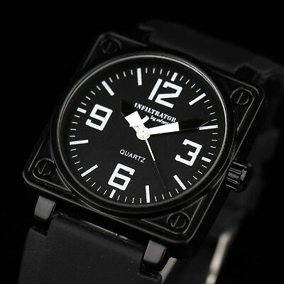 INFANTRY INFILTRATOR Mens Quartz Wrist Watch Sport Military Army Black Silicone