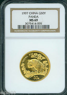 1997 Small Date GOLD Chinese PANDA 1/2 Oz. NGC MS69 CHINA 50Y Yn Yuan G50Y 50-Y