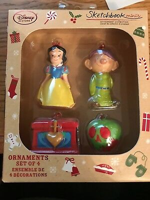 Disney Store  Snow White and the Seven Dwarfs Sketchbook Minis Ornament Set New