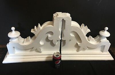 Pair of Antique 1880's Old Corbels Teardrop Finials White Chippy Paint Brackets