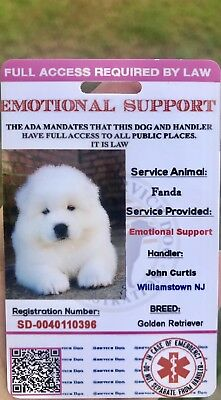 Pink EmotionalSupport Dog Card ID Assistance Animal Badge ADA ESA With QR Code