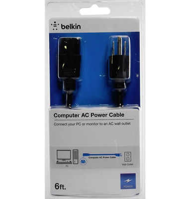 Belkin 6 FT Computer AC Power Cable Connect Power Supply Cord Cable 6ft AC