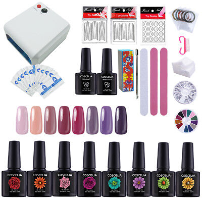 Xmas Gift Complete Starter Nail Gel Polish Kit Set 36W UV LED Lamp 8/6 Gels Tool