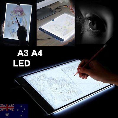 A3A4 Slim LED Stencil Board Light Box Artist Tracing Drawing Copy Plate Table AU
