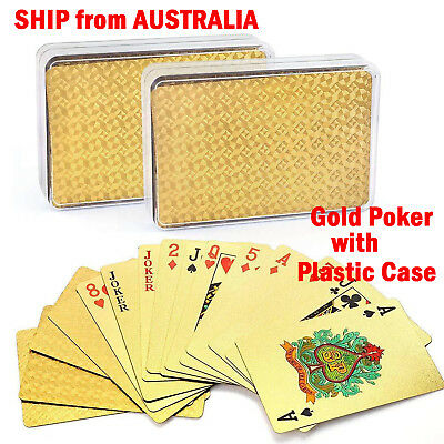 24K Gold Plated Poker Waterproof Playing Cards With Plastic Box Christmas Gift