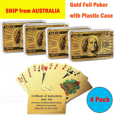 99.9% 24k Genuine Gold Plated Poker Playing Cards With Plastic Box 4 Christmas