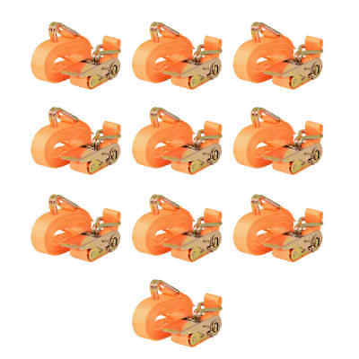 vidaXL 10x Sangle d'Arrimage 0,4 Tonnes 6 mx25 mm Orange Transport Remorque
