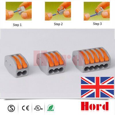 10× Spring Lever Terminal Block Electric Cable Wire Connector 2-3-5 Reusable UK