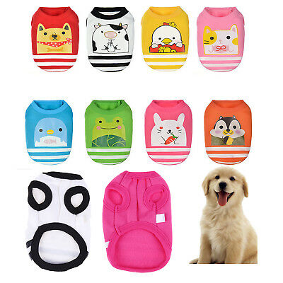 Pet Dog Cotton Shirt Vest Cartoon Jacket Puppy Cat Coat Summer Apparel Clothes
